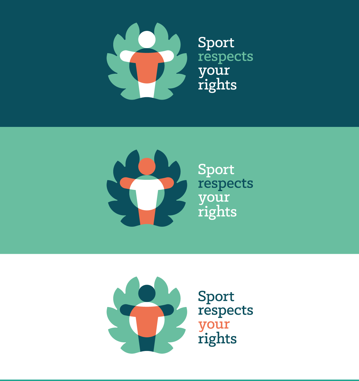 Sport respects your rights project logo in three colour variants.