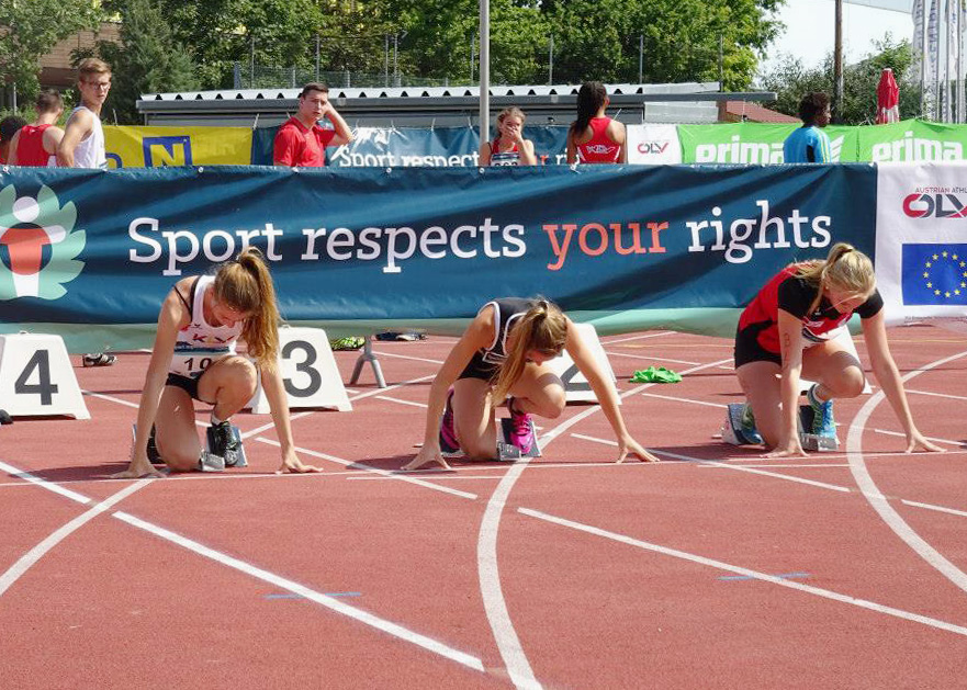 "The ÖLV promoting ""Sport respects your rights"" at the national youth athletics team match Bundesländercup U18, June 2014, St. Pölten, Austria. Photo: ÖLV"